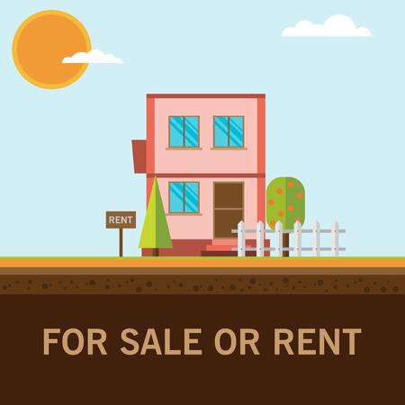 for rent: home for rent or sale Illustration