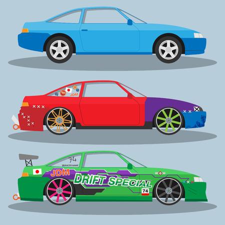 spoiler: Vector race car for drift. Eps 10 Illustration