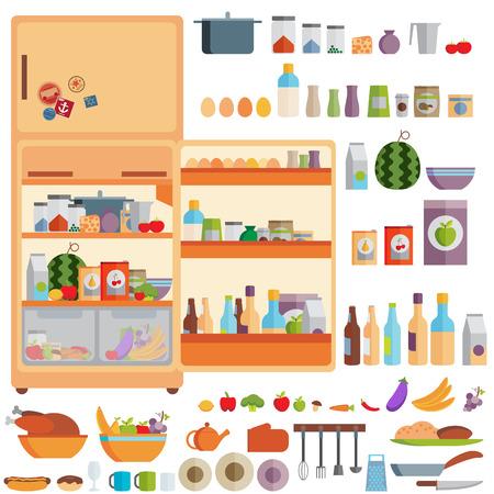 refrigerador: Ilustración de la Nevera con comida, bebidas y utensilios de cocina Vectores