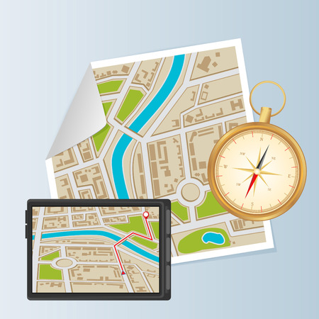 locality: Background of city districts map with compass and navigation Illustration