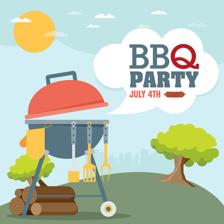 bbq: Invitation card on the barbecue