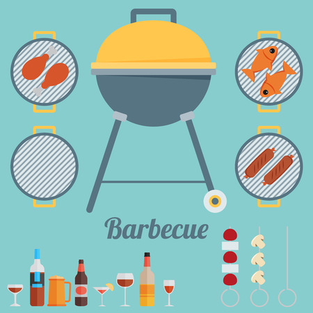 barbecue grill: Barbecue. Flat style design - vector Illustration
