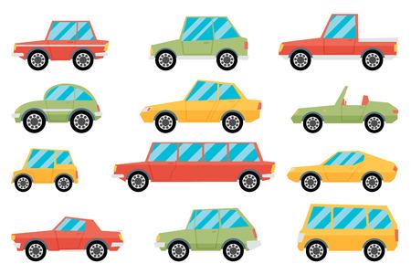 family van: Set of cartoon cars. Flat vector. Illustration