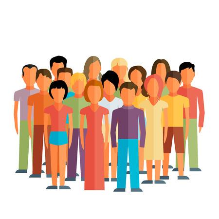 남성과 여성의 큰 그룹과 사회 구성원의 평면 그림 일러스트