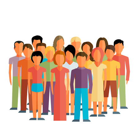 neighbour: Flat illustration of society members with a large group of men and women