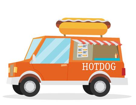lunch room: Street food van. Fast food delivery.