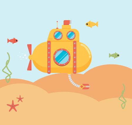 sea landscape: Submarine under water concept vector flat illustration Illustration