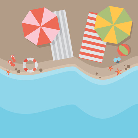 crowded space: Beach flat design background