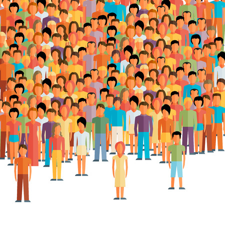 neighbourhood: flat illustration of male community with a crowd of guys and men