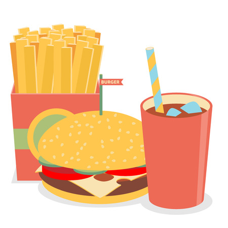 catsup: Lunch with french fries, hot dog and soda takeaway on isolated background.
