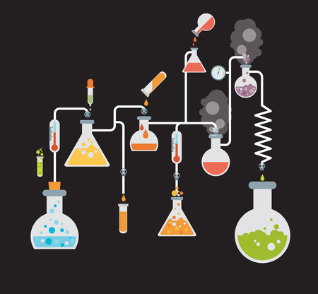 retort: Chemistry infographics template showing various tests being conducted in laboratory glassware using colorful chemical solutions and reactions on a grey background conceptual of science and industry Illustration