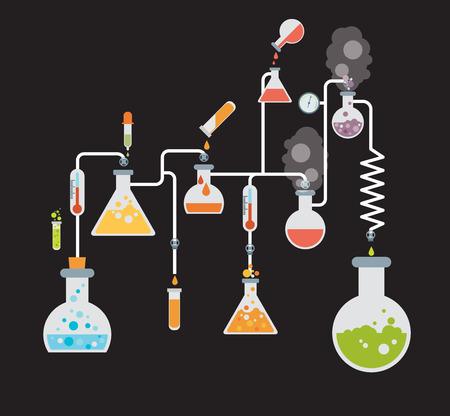 Plantilla infografía Química mostrando varias pruebas que se realizan en la cristalería de laboratorio utilizando soluciones químicas coloridas y reacciones sobre un fondo gris conceptual de la ciencia y la industria