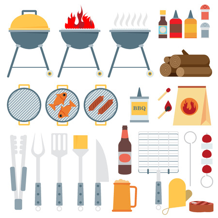barbecue grill: Vector flat set of barbecue tools. Illustration