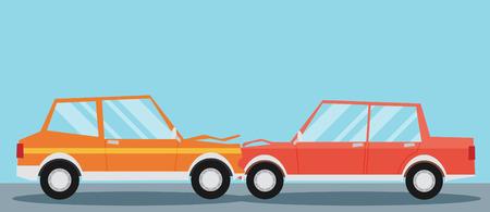 Car crash. Two cars hit head-on. Flat design. Illustration