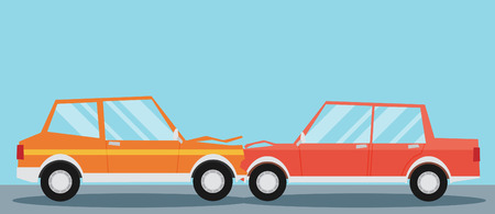 auto accident: Car crash. Two cars hit head-on. Flat design. Illustration