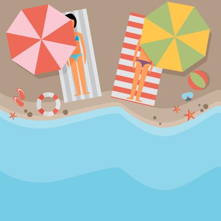 Beach flat design background
