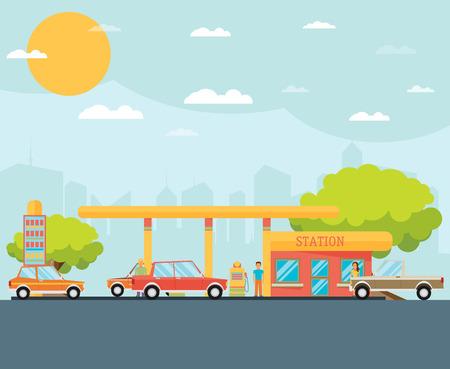 ガソリン スタンドのベクトル図  イラスト・ベクター素材