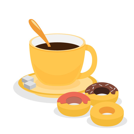 cappucino: Donuts with coffee. Flat vector
