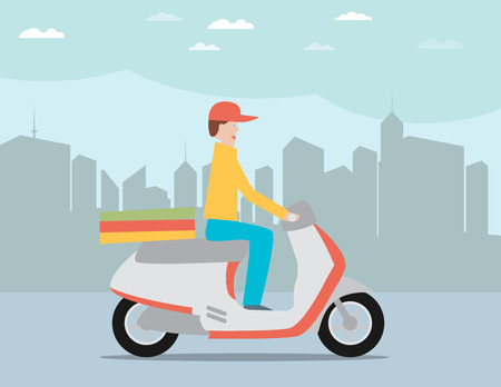 ring road: Pizza delivery by courier on scooter in the city icon flat vector illustration Illustration