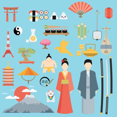 japan culture: Flat Japan icons and symbols set. Illustration on Japanese theme.