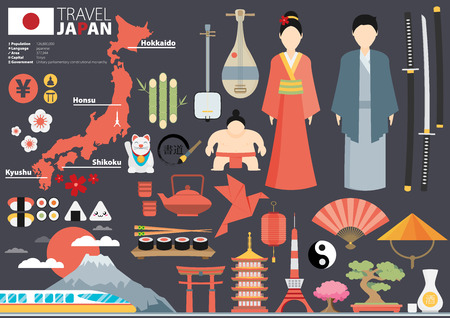 food illustration: Japan Flat Icons Design Travel Concept.Vector