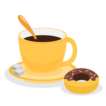 crumb: Donut with coffee. Flat vector