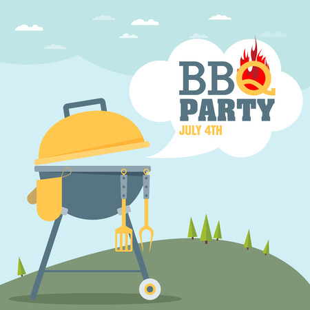 summer food: Invitation card on the barbecue
