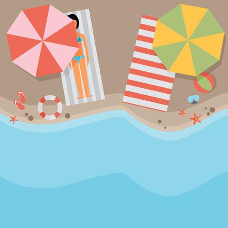 Beach flat design background Zdjęcie Seryjne - 42156549