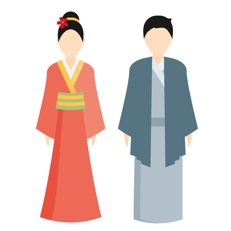 traditional illustration: japan traditional costume, kimono