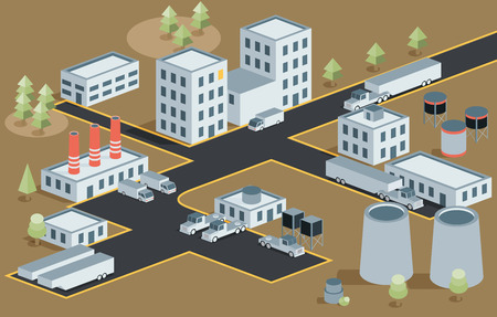 industrial district: Vector isometric view of the industrial district Illustration