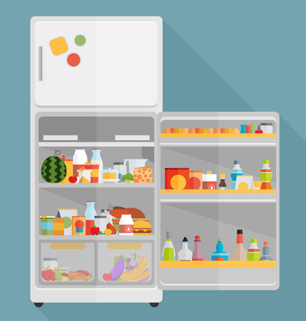 refrigerador: Vintage abrió el refrigerador - lleno de comida Vectores