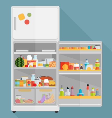 Vintage opened refrigerator - full of food