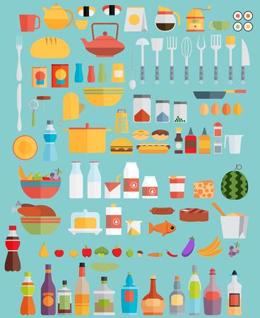 alimentos y bebidas: Alimentos, bebidas y utensilios de cocina. Ilustraci�n plana
