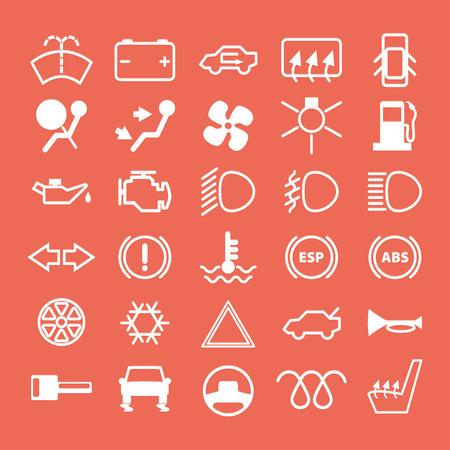 brake: Car dashboard icons set.