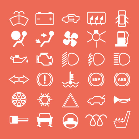 high light: Car dashboard icons set.