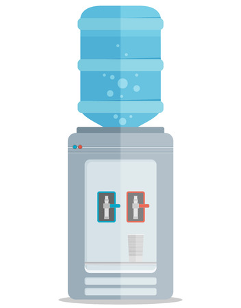 cold water: Flat vector icon for water cooler. Gray water cooler with blue full bottle and cup.