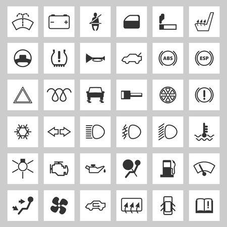 Car dashboard icons set.