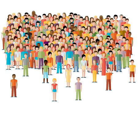 multitud de gente: ilustración plana de la comunidad masculina con una multitud de chicos y hombres Vectores