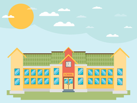 steeple: Classical school building flat style Illustration