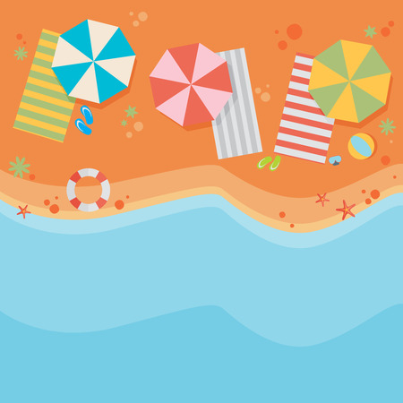 Plaża płaska tła Ilustracje wektorowe