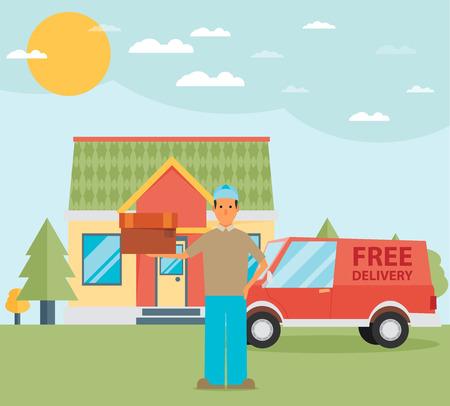 delivering: Man postal delivery courier man in front of cargo van delivering package.