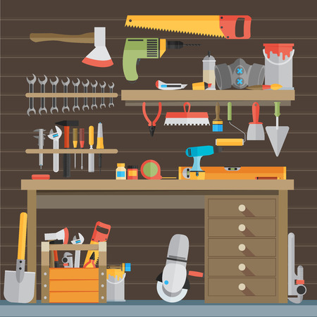 tools icon: Workspace carpenter tools trendy flat icon, on wood background Illustration
