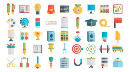 school icon: Education. School. University. Vector flat icon set