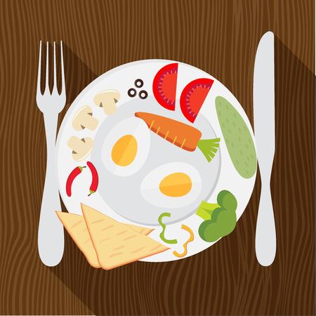 fit: Dise�o plano colorida ilustraci�n vectorial concepto de placer de comer comida vegetariana, la dieta, la p�rdida de peso, mantenerse en forma, la nutrici�n saludable, men� del restaurante Vectores