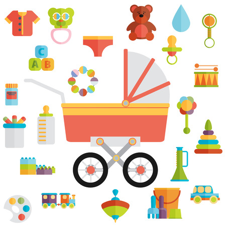 baby toys: Baby toys flat icon set vector