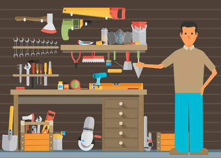carpenter tools: Workspace carpenter tools trendy flat icon, on wood background Illustration