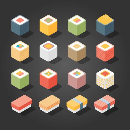 SUSHI: Flat Isometric Icons Sushi