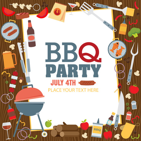illustration food: Invitation card on the barbecue