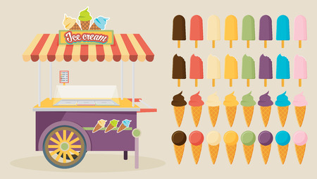 Set of ice-cream icons and ice-cream shopping cart. Flat style design. Vector illustration.