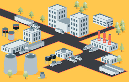 Vector isometric view of the industrial district Illustration